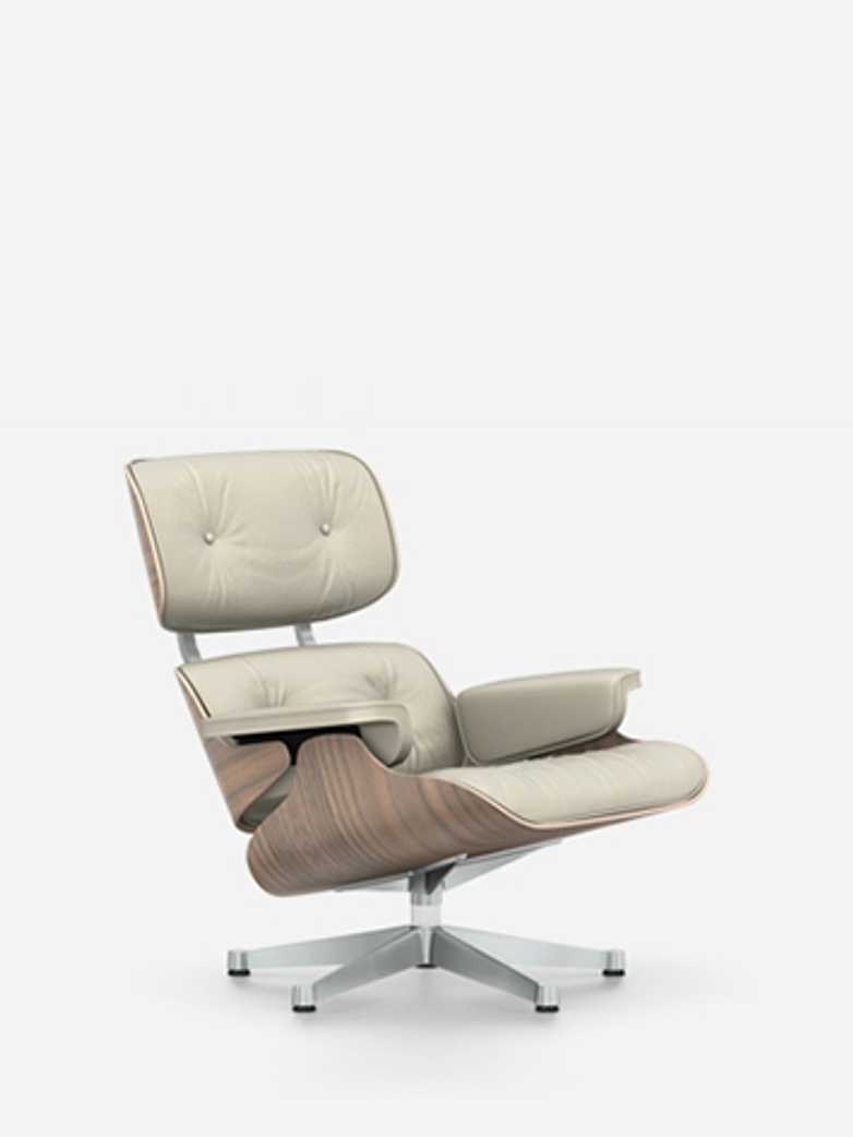 Lounge Chair – Chromed – White Pigmented Walnut