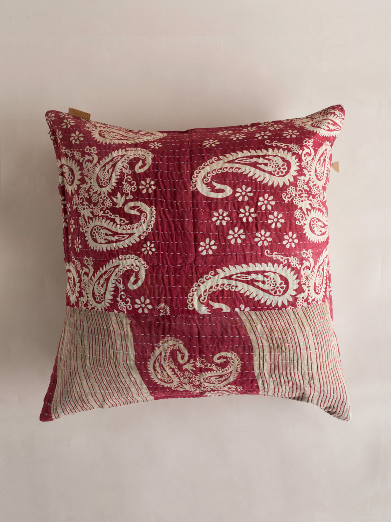 Sari Kantha – Red Wave – 65 x 65