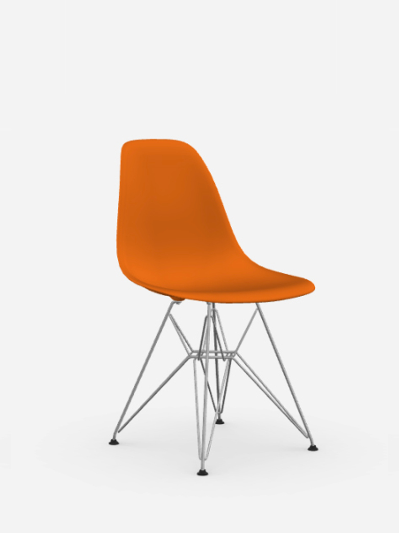 Eames Plastic Chair – DSR – Rusty Orange – Chrome