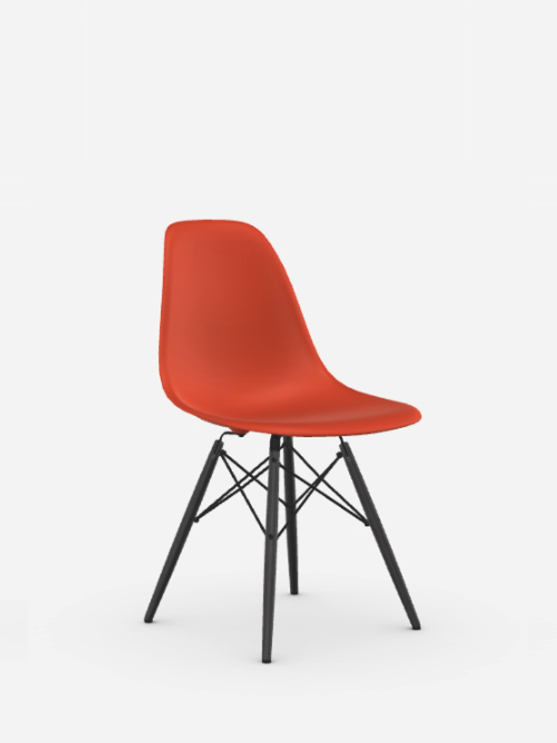 Eames Plastic Chair – DSW – Poppy Red – Black Maple
