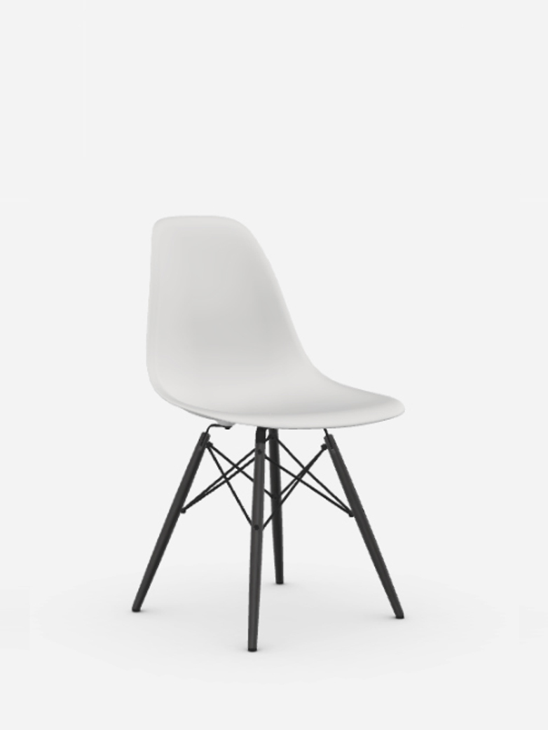 Eames Plastic Chair – DSW – White – Black Maple
