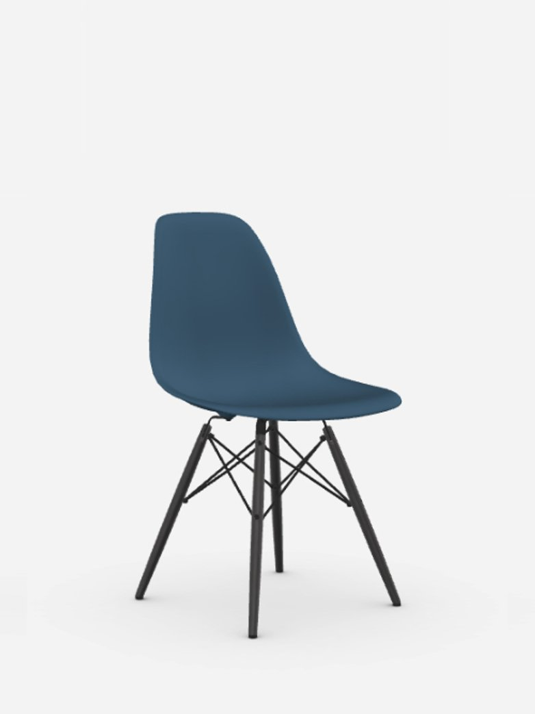 Eames Plastic Chair – DSW – Sea Blue – Black Maple
