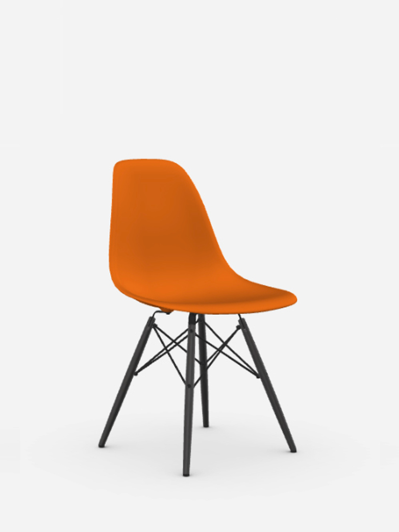 Eames Plastic Chair – DSW – Rusty Orange – Black Maple