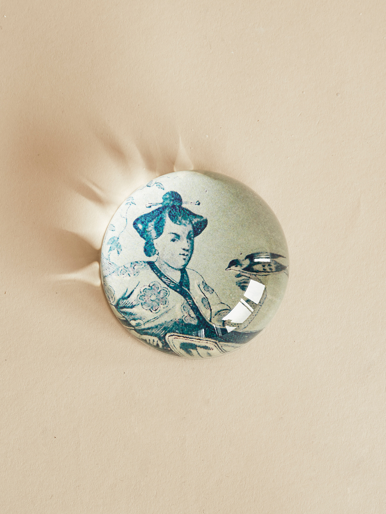 Paperweight Dome – Blue Girl with Bird