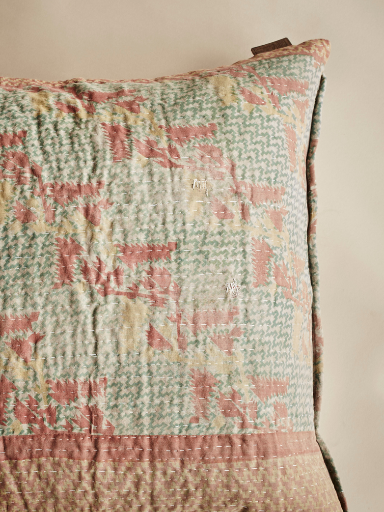 Sari Kantha – Washed Green – 65 x 65