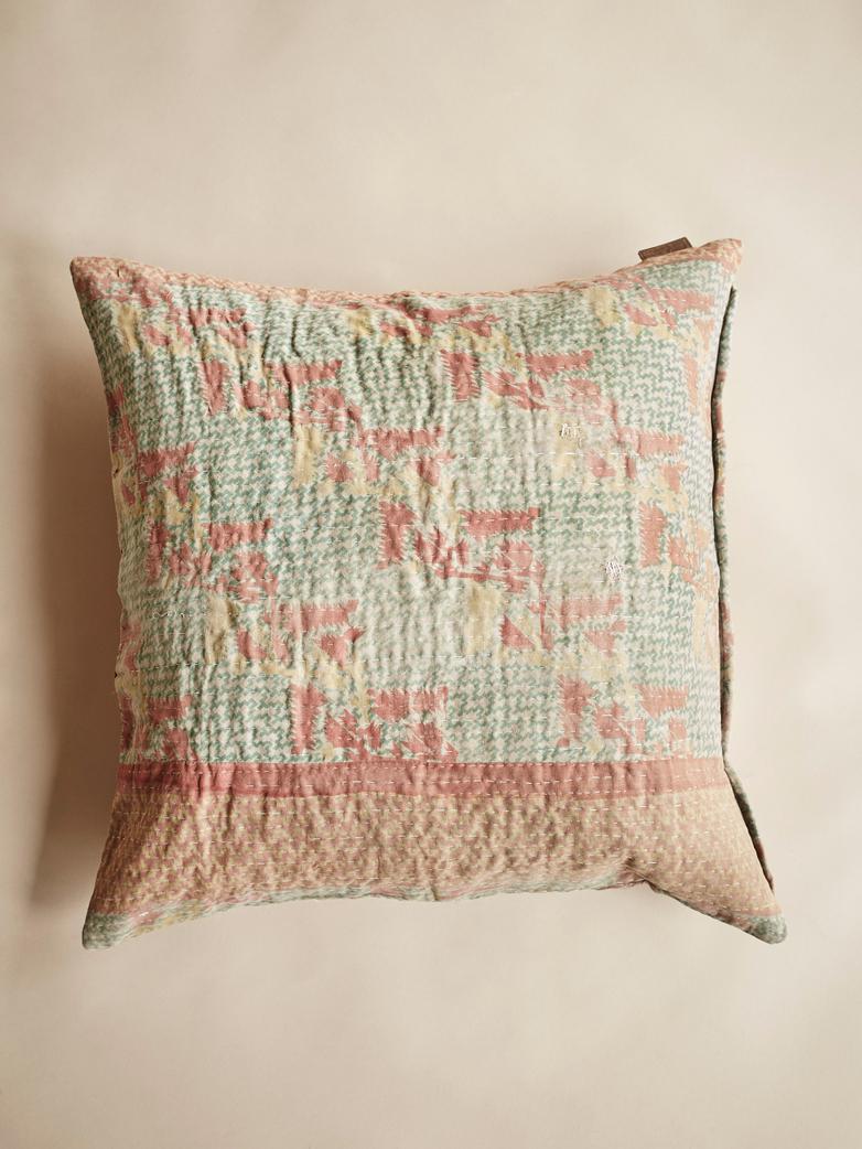 Sari Kantha – Washed Green – 65 x 65