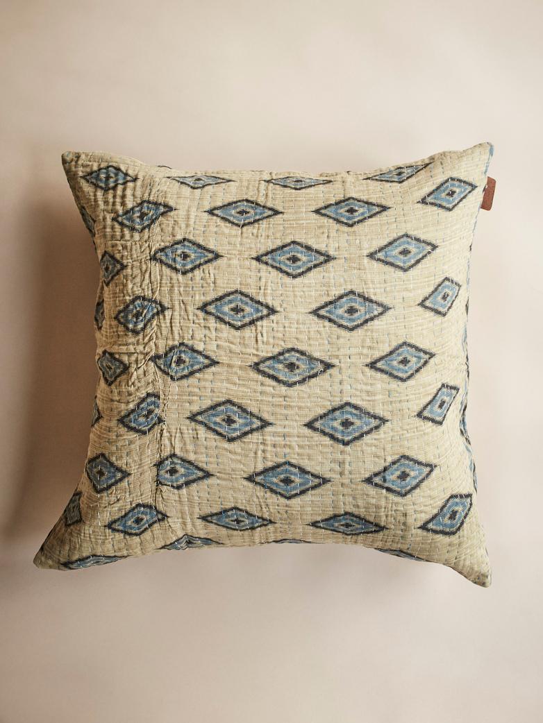 Sari Kantha – Beige/Blue – 65 x 65