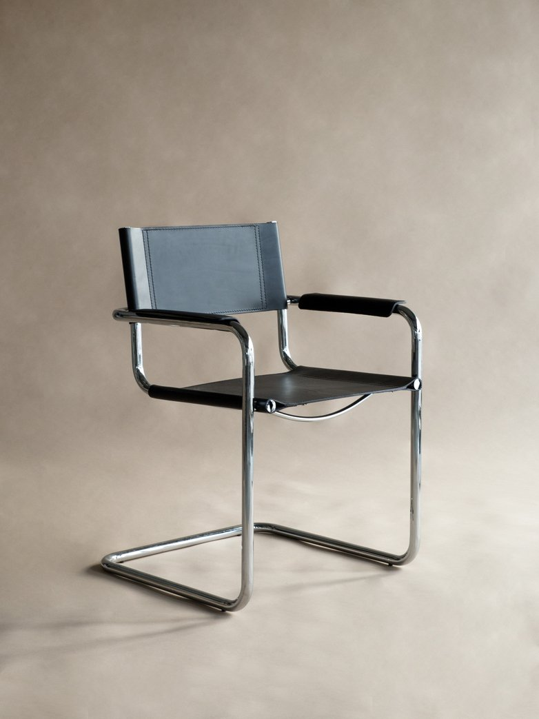 Bauhaus Armchair MS65 - Chrome Frame Black Leather