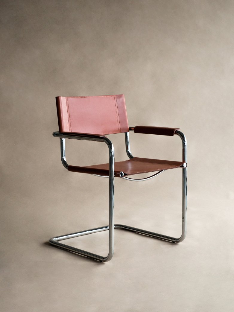 Bauhaus Armchair ST65 - Chrome Brown Leather