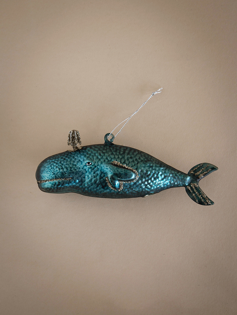 Victorian Whale Ornament - Blue