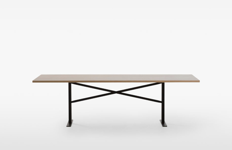 Ferric Table – Black Stained Oak / Ivory – 210 x 100
