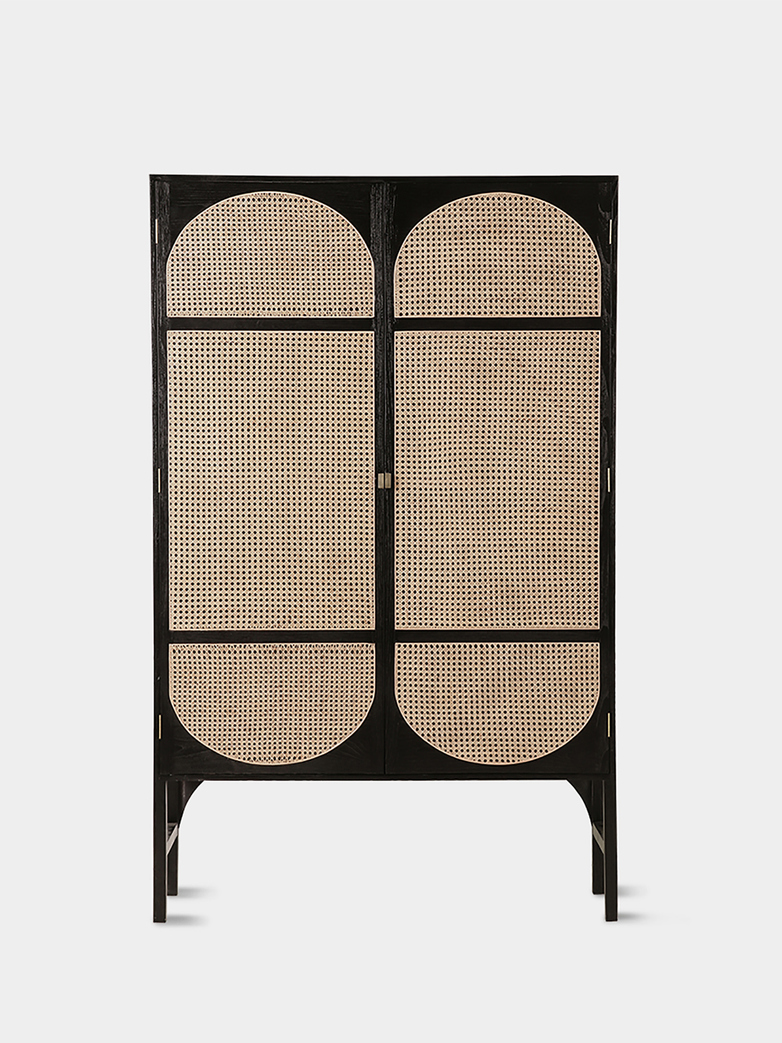 Retro webbing clothing cabinet black