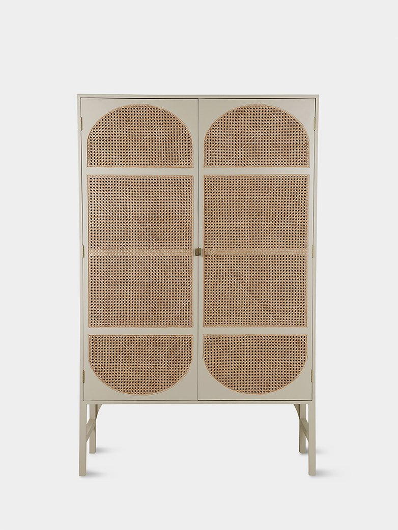 Retro webbing clothing cabinet light grey