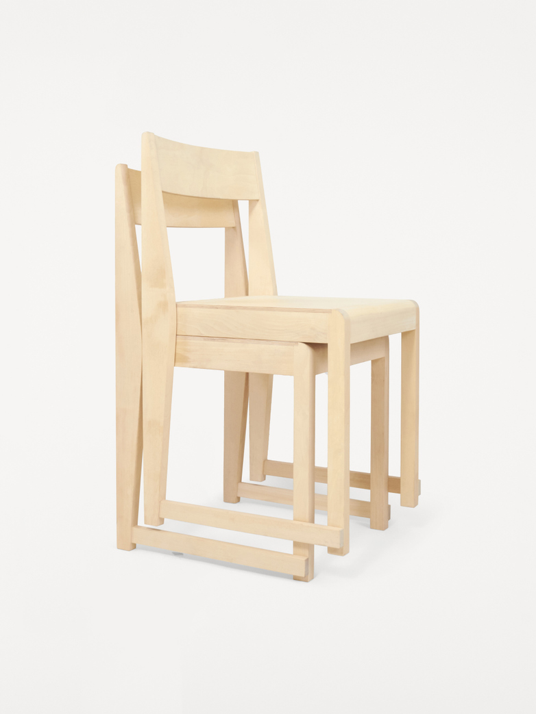 Chair 01 -   Natural Wood Frame/ Natural Leather Seat