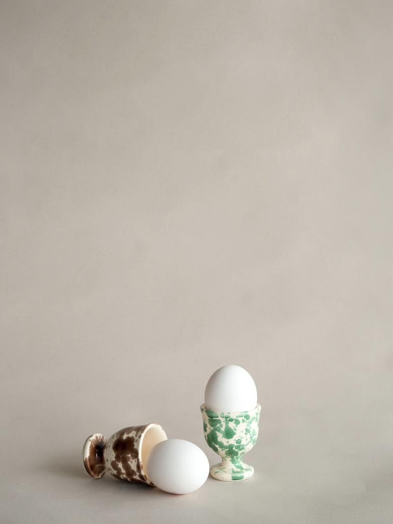 Spruzzi Vivente - Egg Cup - Brown on Creme