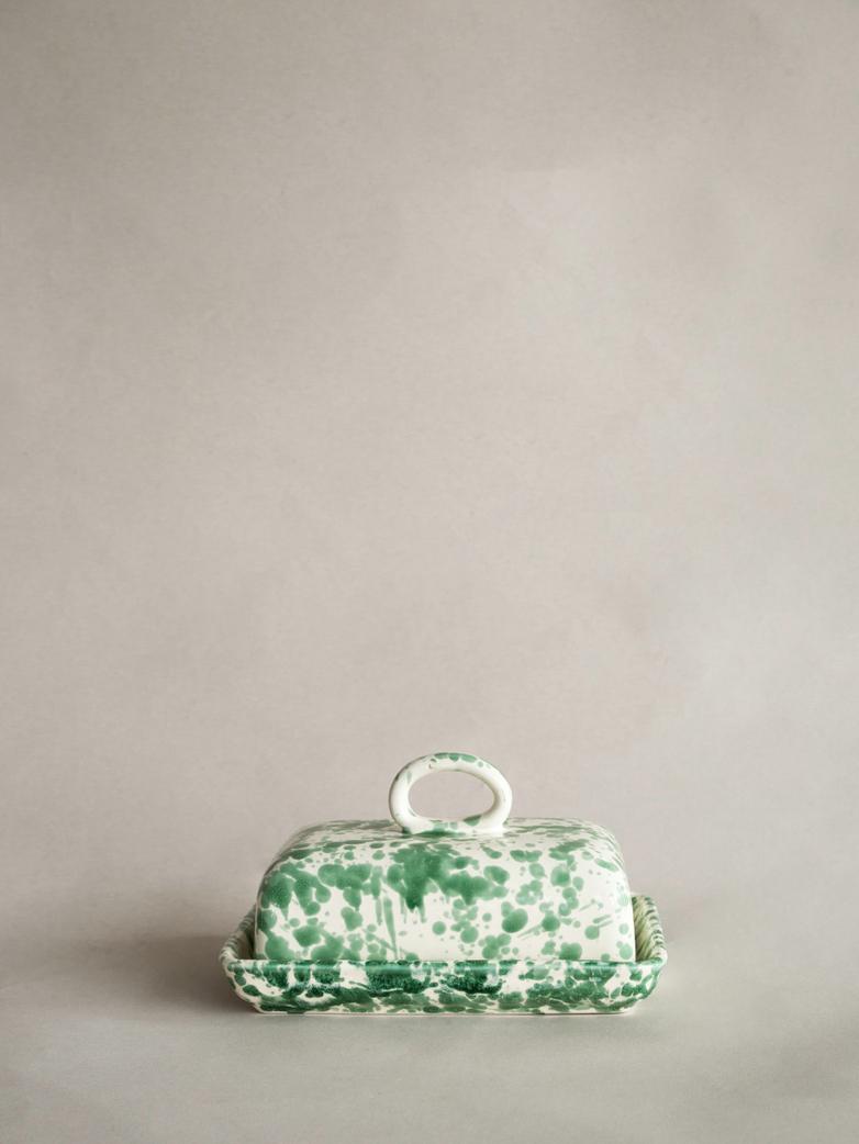 Spruzzi Vivente - Butter Dish - Creme/Green