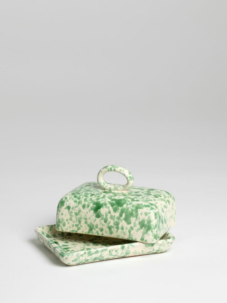Spruzzi Vivente - Butter Dish - Green on Creme
