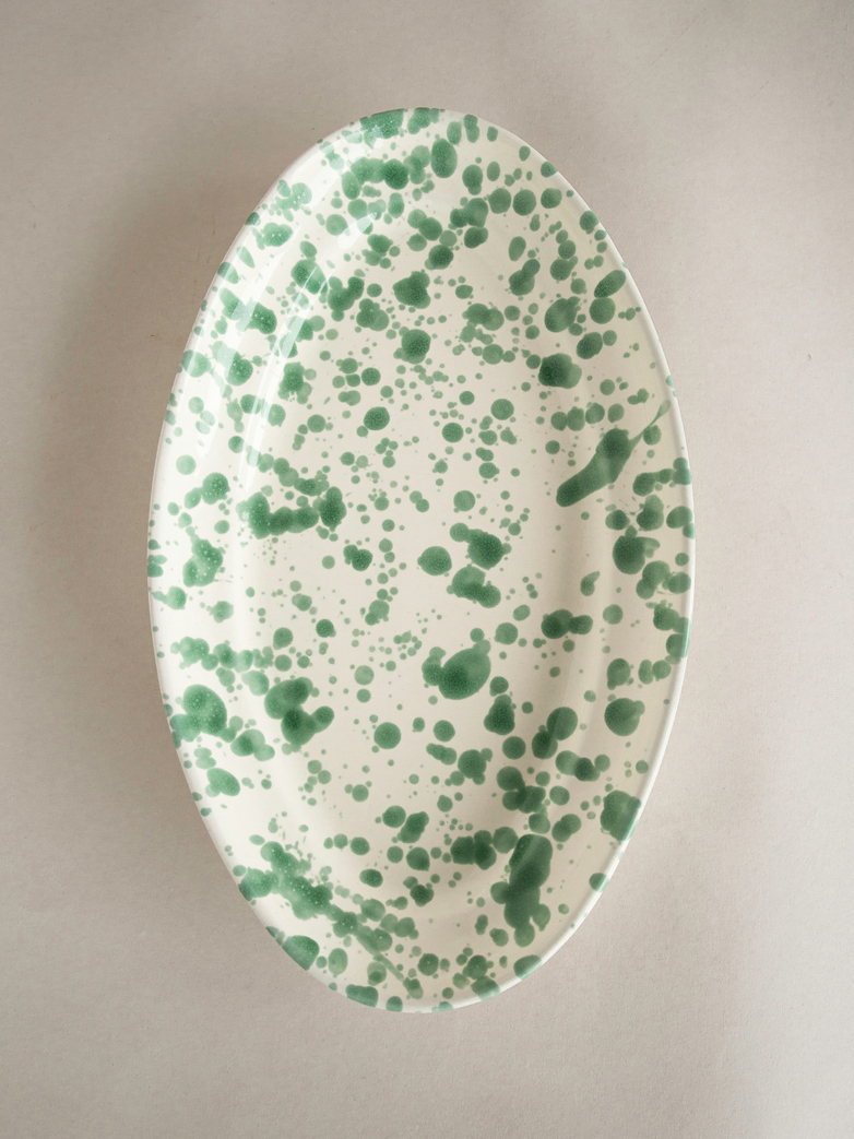 Spruzzi Vivente - Oval Plate Medium - Green on Creme
