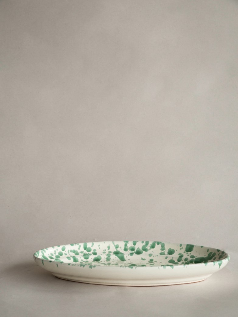 Spruzzi Vivente - Oval Plate Medium - Creme/Green