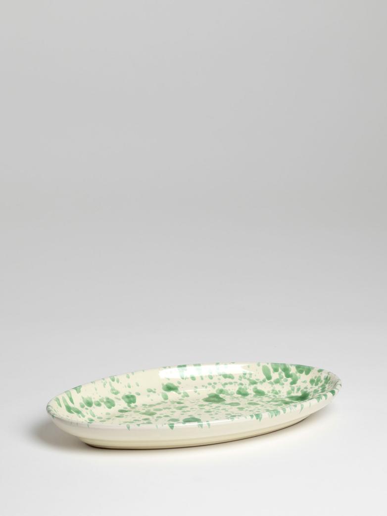 Spruzzi Vivente - Oval Plate Medium - Green on Creme