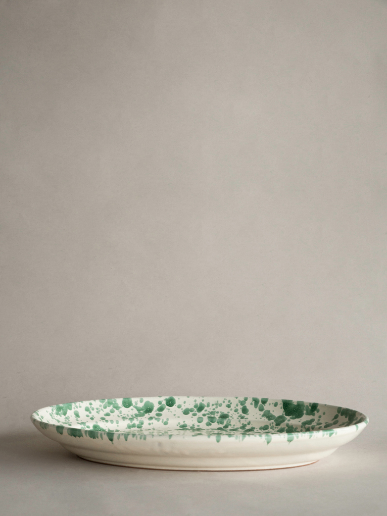 Spruzzi Vivente - Big Oval Plate - Green on Creme