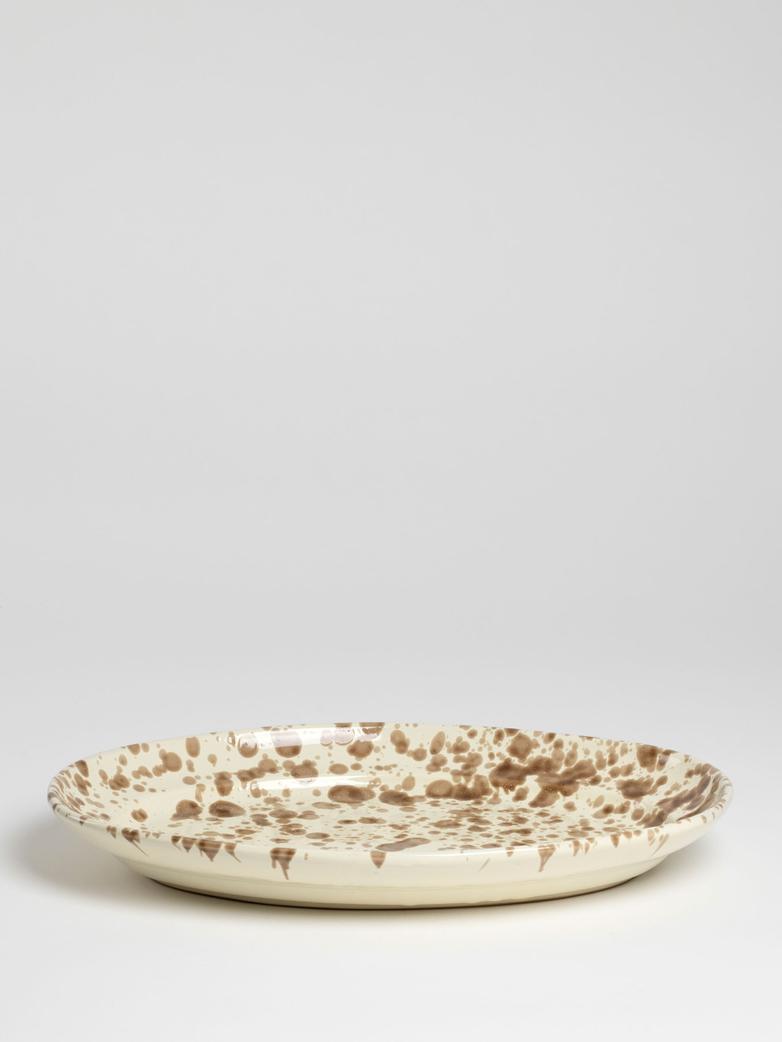 Spruzzi Vivente - Big Oval Plate - Brown on Creme