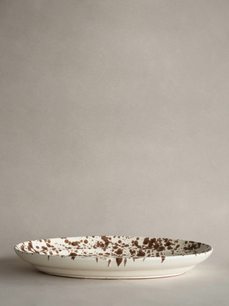 Spruzzi Vivente - Big Oval Plate - Creme/Brown
