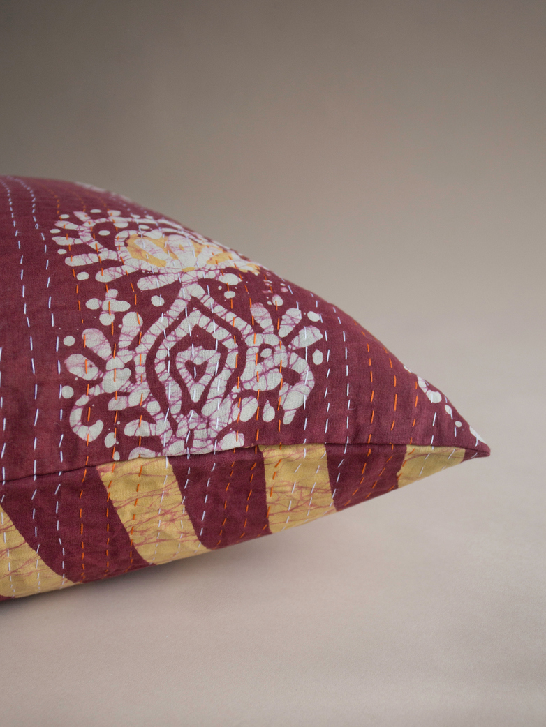 Sari Kantha – Red Stripe – 65 x 65