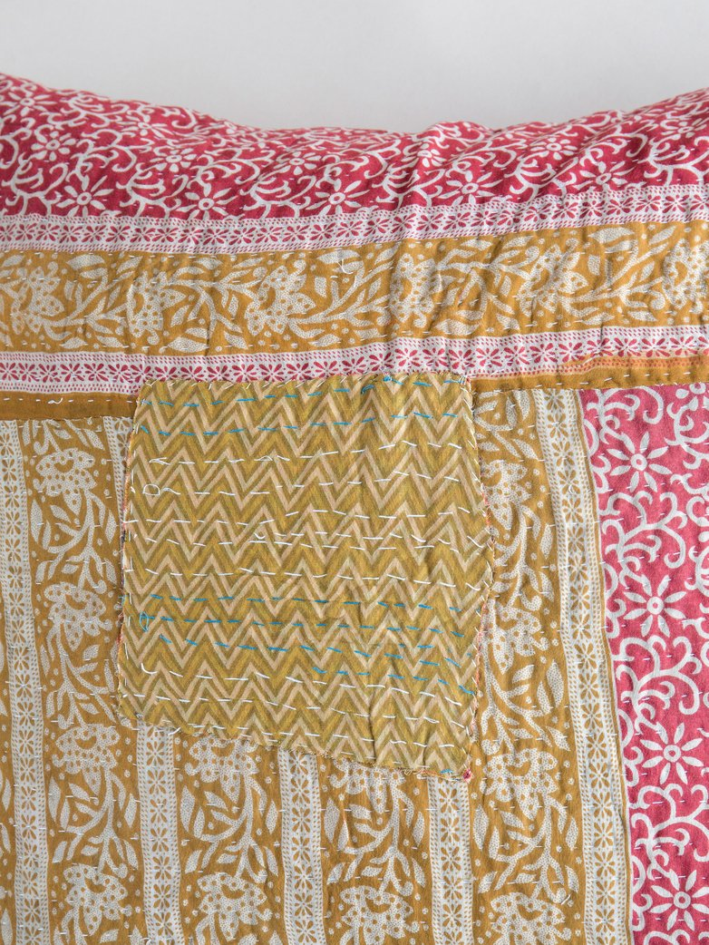 Sari Kantha – Yellow/Red – 65 x 65