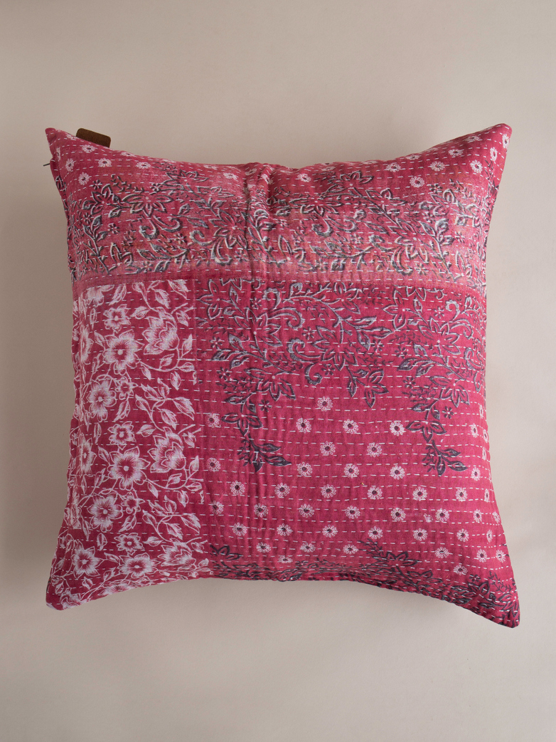 Sari Kantha – Red – 65 x 65