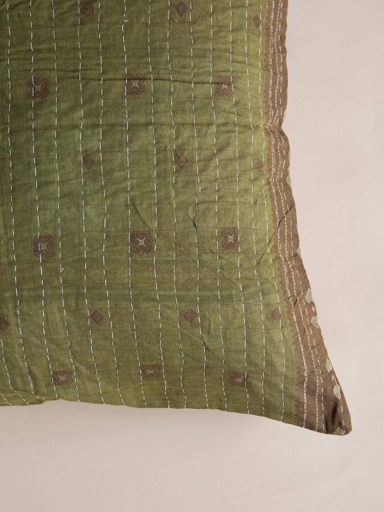 Sari Kantha – Moss Green – 65 x 65