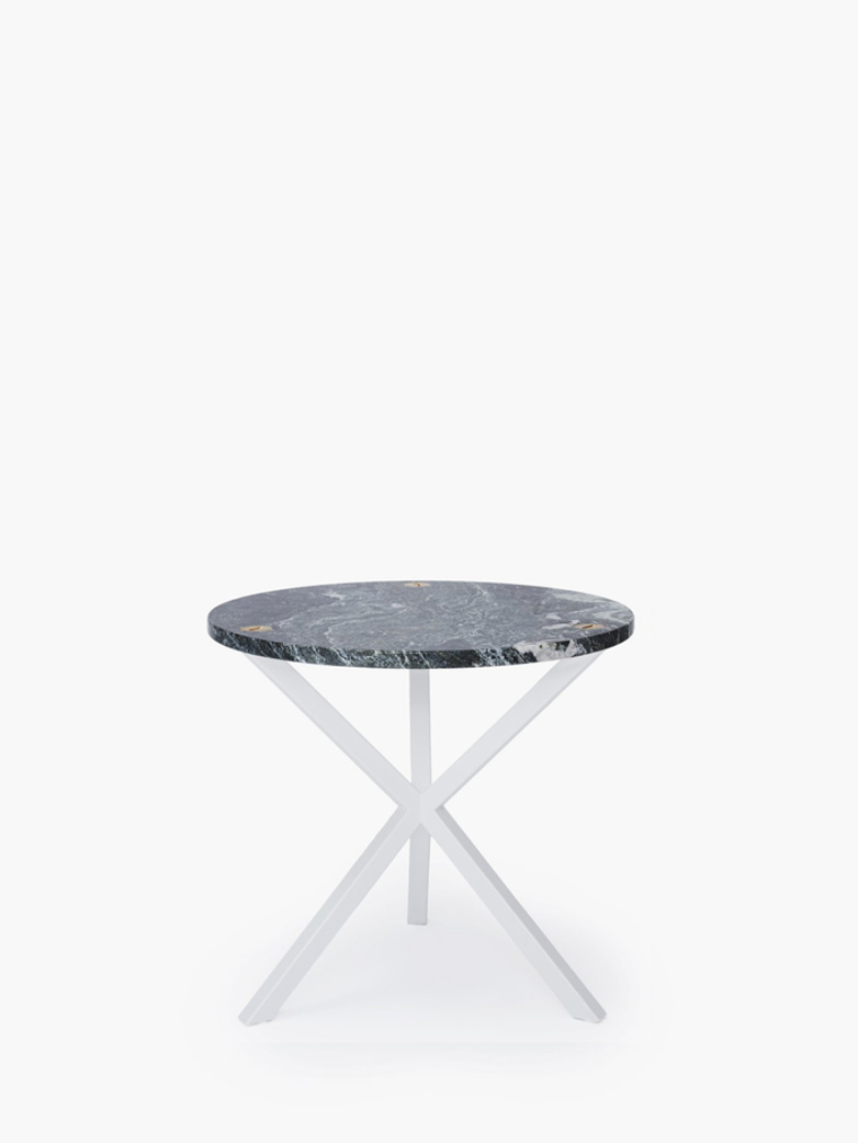 NEB Round Side Table – Granite/White