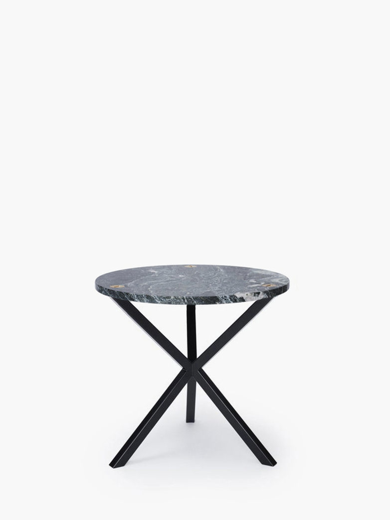 NEB Round Side Table – Granite/Black