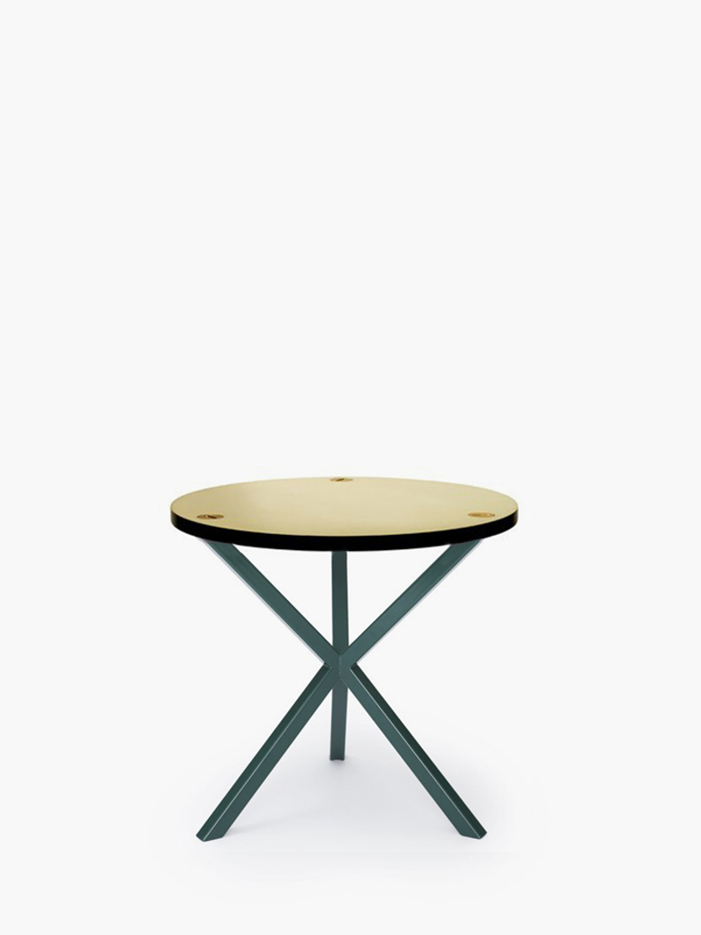 NEB Round Side Table – Brass/Green