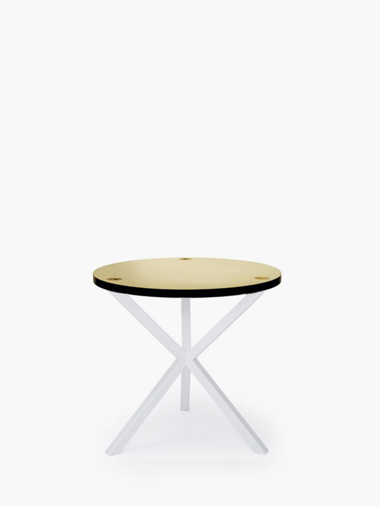 NEB Round Side Table – Brass/White – Low