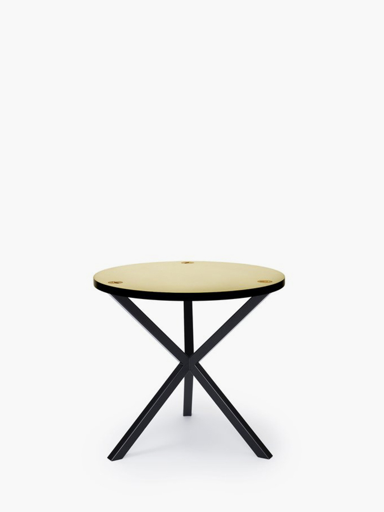 NEB Round Side Table – Brass/Black