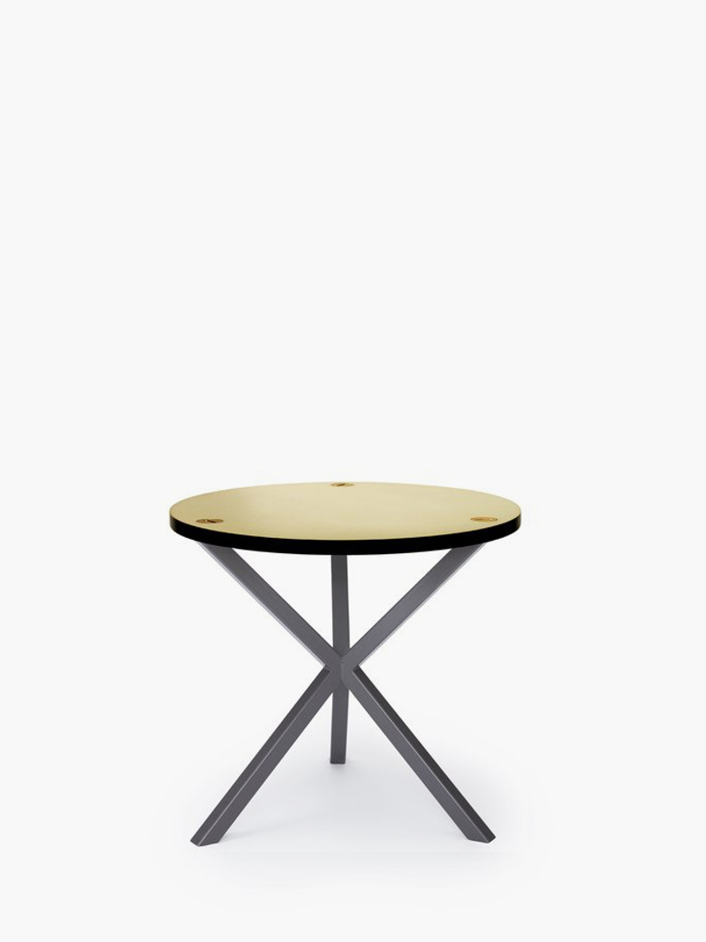 NEB Round Side Table – Brass/Grey