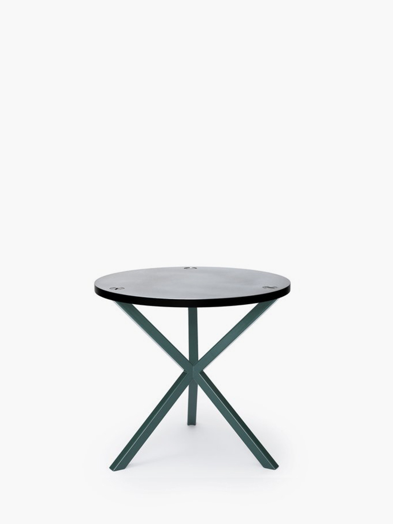 NEB Round Side Table – Zinc/Green