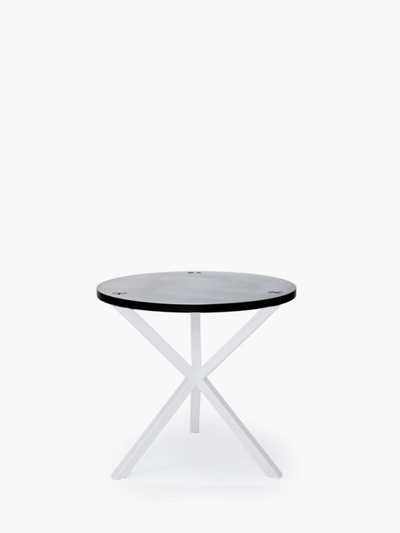 NEB Round Side Table – Zinc/White