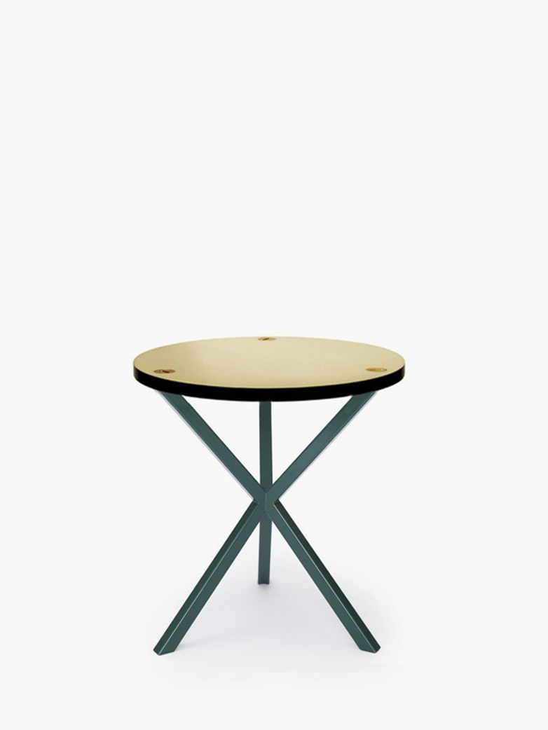 NEB Round Side Table – Brass/Green – Medium