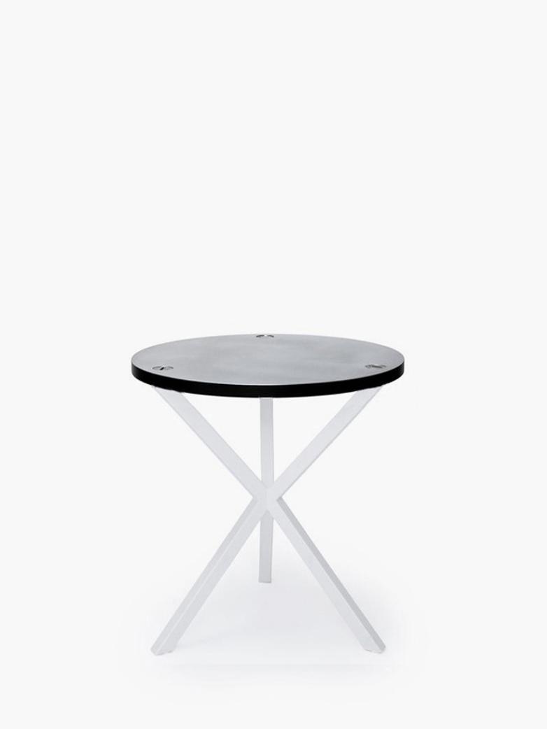 NEB Round Side Table – Zinc/White – Medium