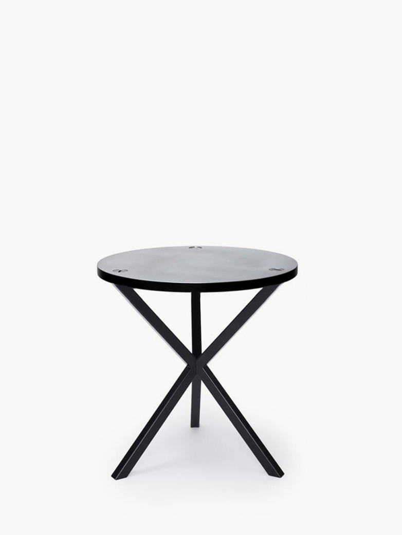 NEB Round Side Table – Zinc/Black – Medium