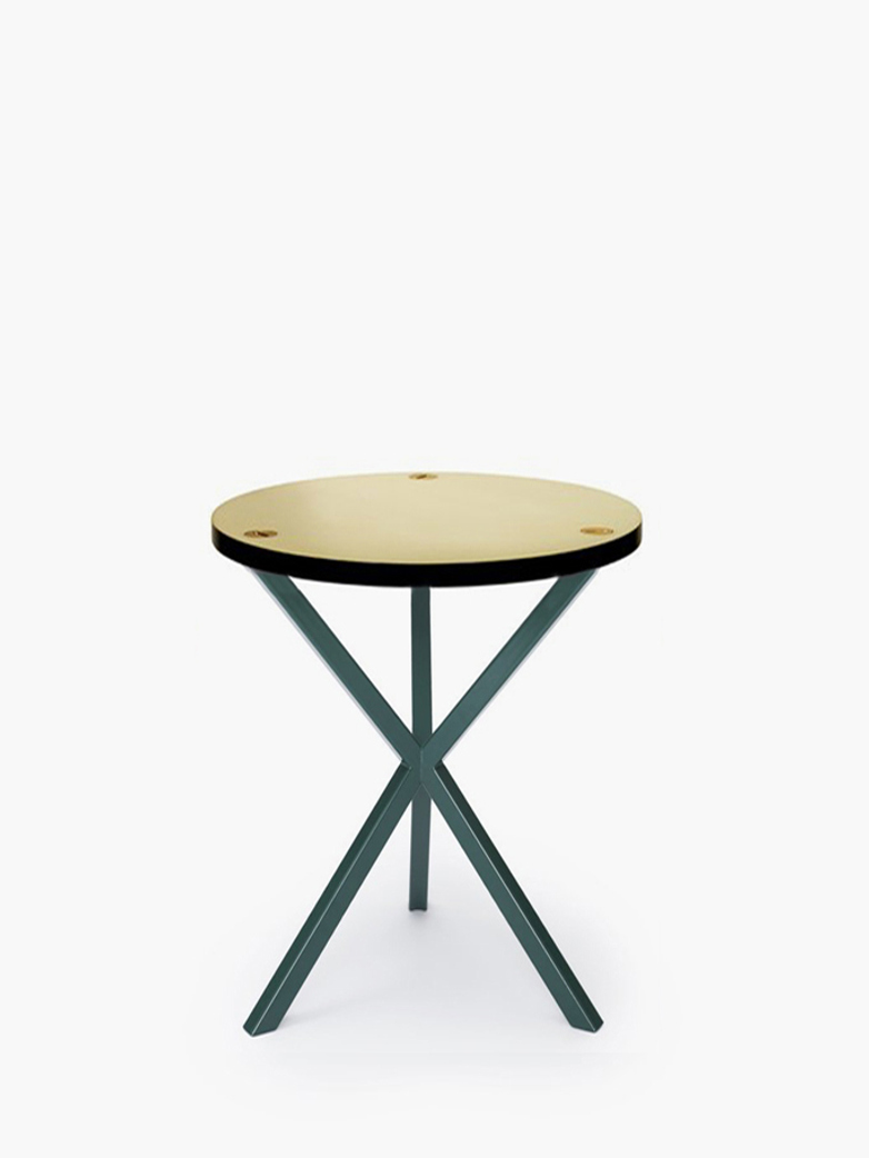 NEB Round Side Table – Brass/Green – High