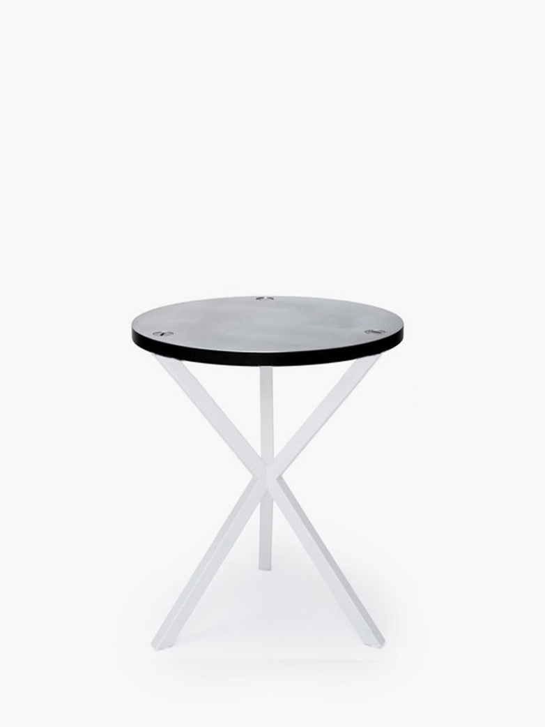 NEB Round Side Table – Zinc/White – High