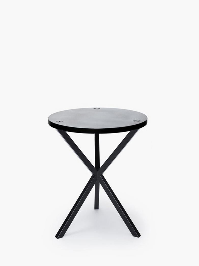 NEB Round Side Table – Zinc/Black – High