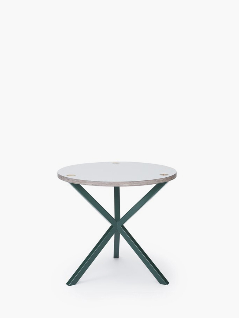 NEB Round Side Table – White Laminate/Green