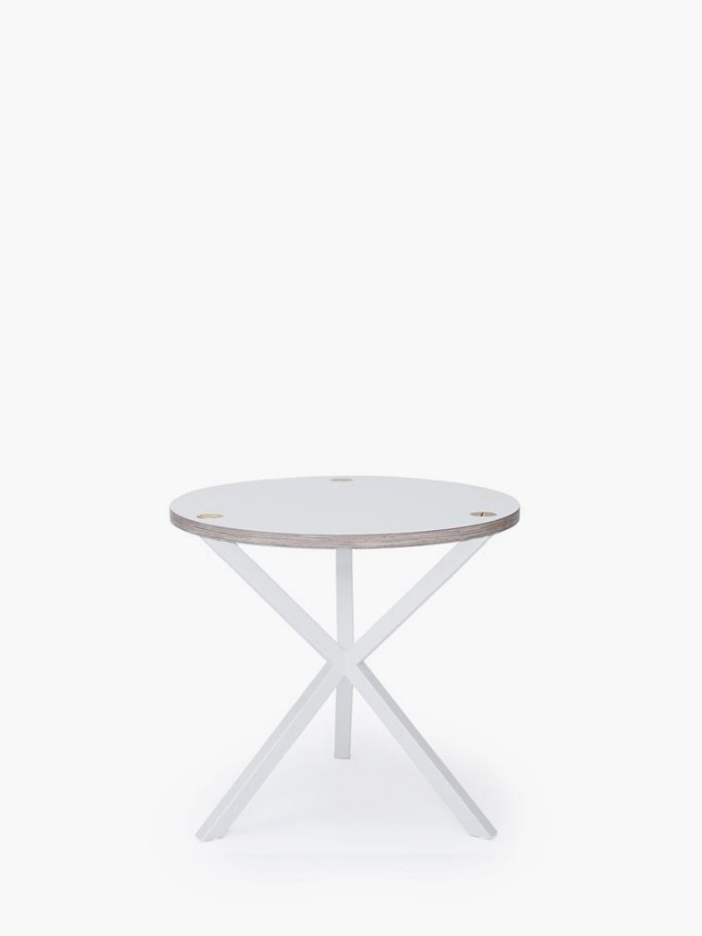 NEB Round Side Table – White Laminate/White – Low