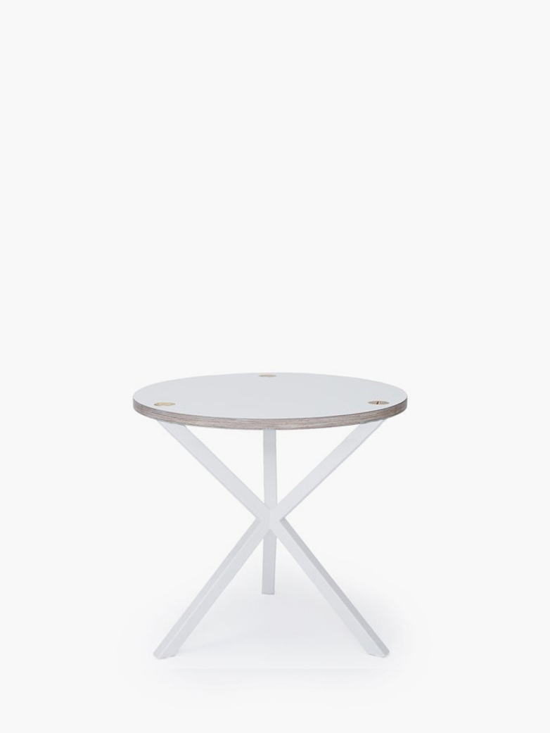 NEB Round Side Table – White Laminate/White