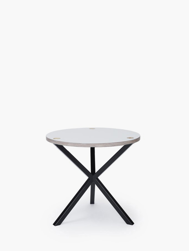 NEB Round Side Table – White Laminate/Black