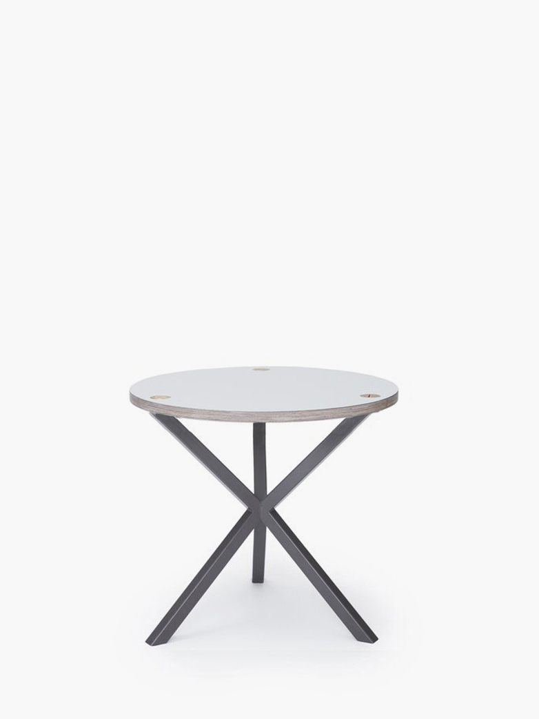 NEB Round Side Table – White Laminate/Grey